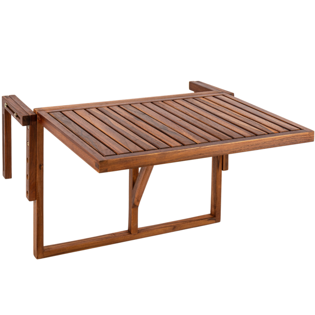 Primematik Table pliante 60 x 40 cm en bois de teck certifié pour balcon extérieur