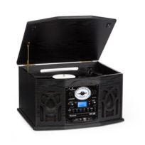 AUNA - NR-620 Chaîne hifi stéréo tourne-disque enregistrement MP3 en bois noir