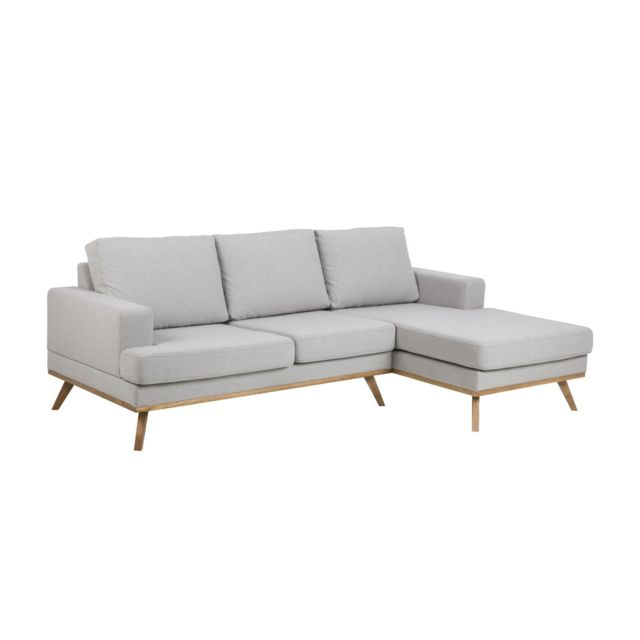 HOMIFAB Canapé d'angle droit 3 places et méridienne en tissu gris clair - Collection Norwich