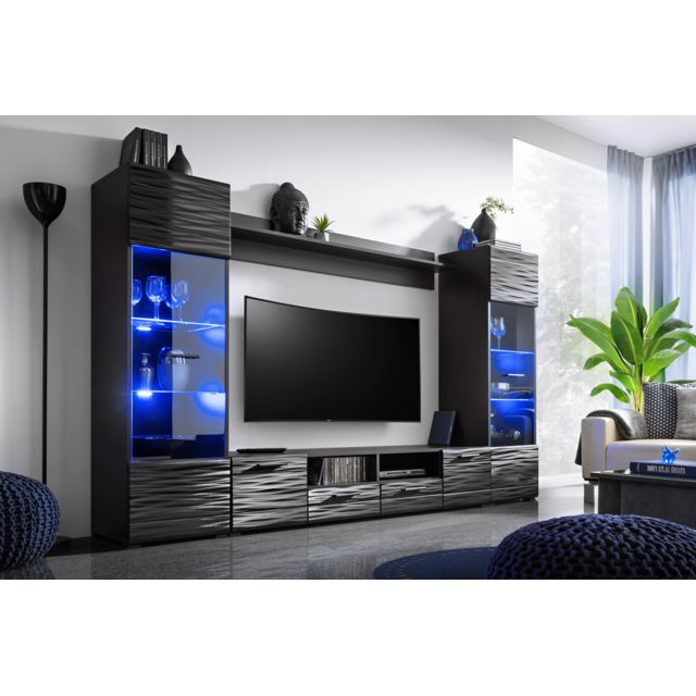 Dusine - Meuble salon Queen 260 cm Noir Laqué Tv Effet 3D avec Led ...