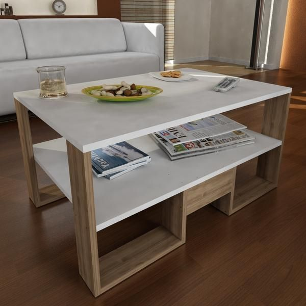 Alphamoebel Table basse Golden blanc-noyer 45x90x60 cm