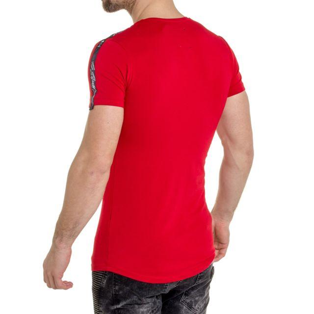 BLZ JEANS Tee shirt rouge à motifs brodés