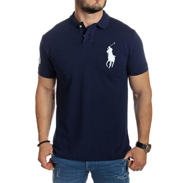 Ralph Lauren - Polo homme big pony bleu marine logo blanc - pas cher ... da8d5e2c353