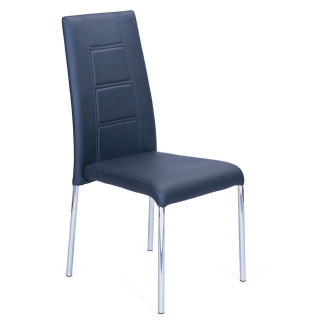 COMFORIUM Lot de 4 chaises design en chrome coloris noir