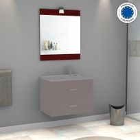 Creazur - Miroir avec applique lumineuse Mirosa - 70 cm rouge