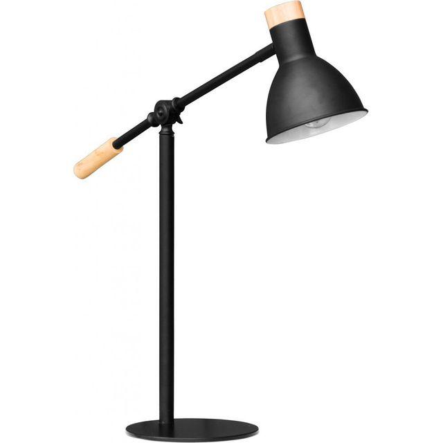 privatefloor lampe de chevet flexible en bois et m tal style scandinave hofer noir pas. Black Bedroom Furniture Sets. Home Design Ideas
