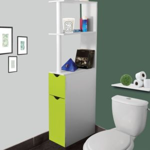 idmarket meuble wc tag re bois gain de place pour toilette 2 portes vertes pas cher achat. Black Bedroom Furniture Sets. Home Design Ideas