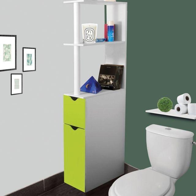 4e6bce220e0a0d IDMARKET - Meuble WC étagère bois gain de place pour toilette 2 portes  vertes