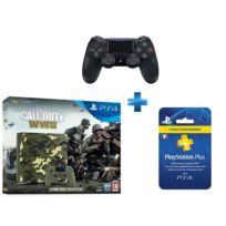 SONY - PS4 1 To E Camo Design + Call of Duty : World War II - Deluxe Edition + Qui es-tu ? voucher, + Carte Playstation Plus - Abonnement 3 mois + Dual Shock 4 - V2 - NOIRE