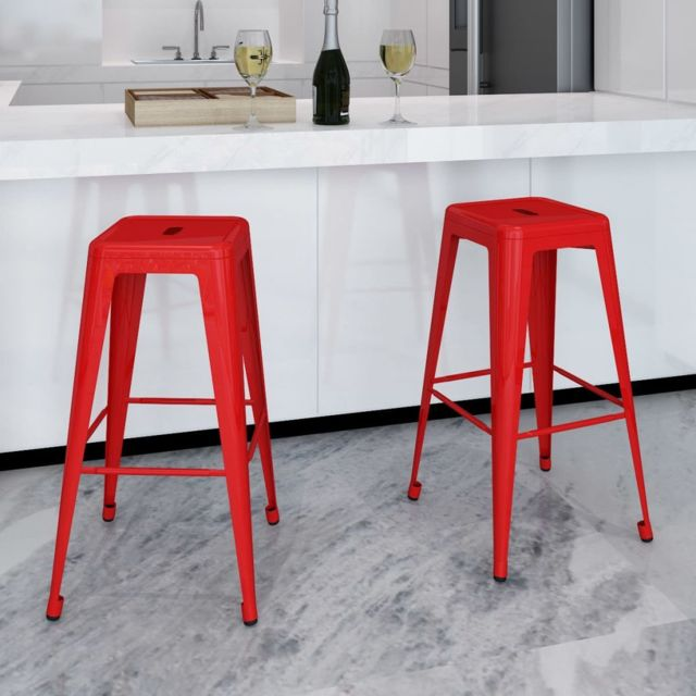 Superbe Fauteuils categorie Abuja Tabouret de bar 2 pcs Carré Rouge