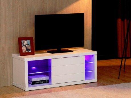 MARQUE GENERIQUE Meuble TV AMALRIC - MDF laqué blanc - LEDs - 1 porte coulissante