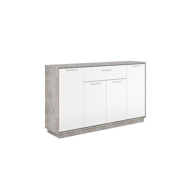 Commode 4 portes 1 tiroir en décor blanc et béton