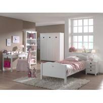 Modern Life - Ensemble 5 éléments : Lit 90x200 + chevet + bureau + armoire trois portes + bibliothéque