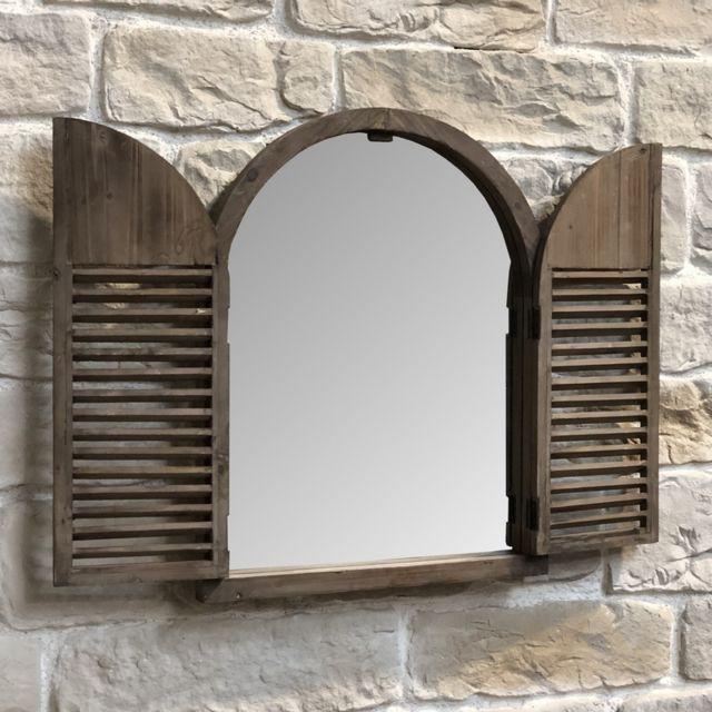 L'ORIGINALE Deco Miroir Salle de Bain Salon Volet Bois d'Entrée Fenêtre 75 cm x 59 cm