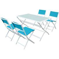 Salon de jardin repas en textilène Bistro XL - Phoenix - Bleu