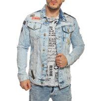 Redbridge - Veste en jean bleu clair délavée et trouée avec patchs