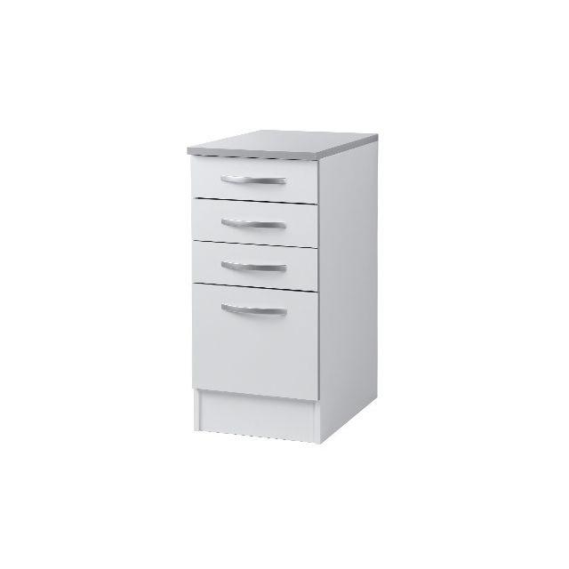Meuble bas 4 tiroirs L40xH86xP60cm - blanc