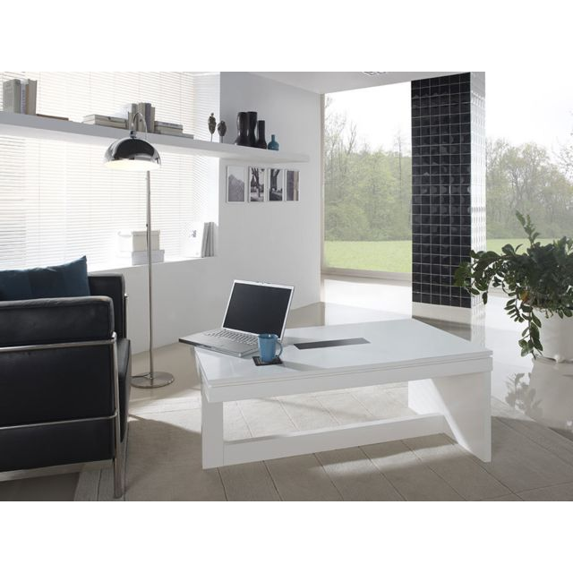 Kasalinea Table basse relevable blanc laqué design Evista - Avec poufs noirs
