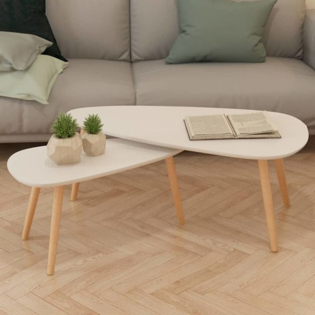 Vidaxl 2x Bois de Pin Massif Table Basse Blanc Salon Canapé Table Gigogne
