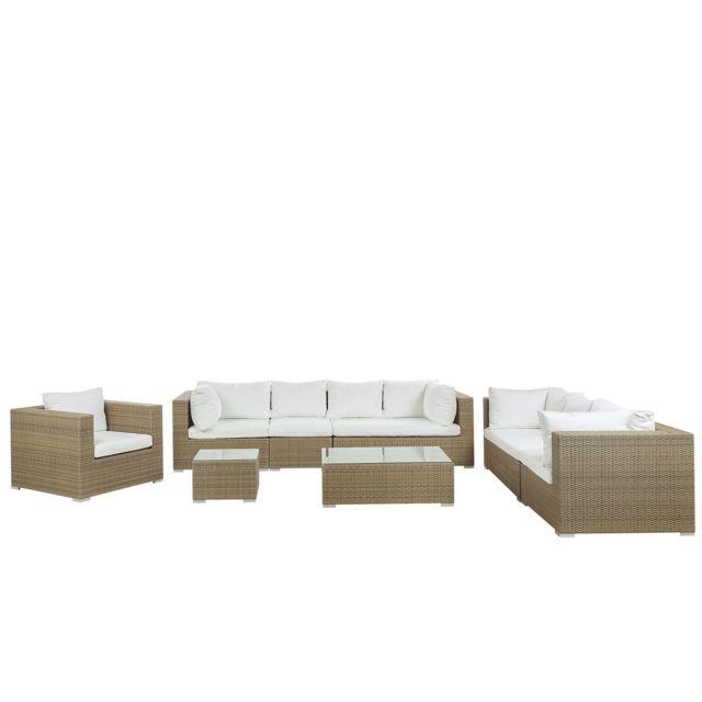 BELIANI Salon de jardin 8 places en rotin marron clair avec coussins blancs cassés MAESTRO II