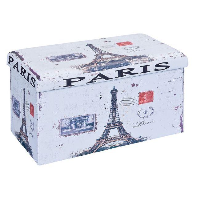 Altobuy - Warren Xl - Pouf Coffre Pliant Paris Blanc - pas cher Achat    Vente Poufs - RueDuCommerce a64bd62e0372