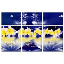 Declina - Cadre triptyque déco murale fleurs plumeria - Tableau deco