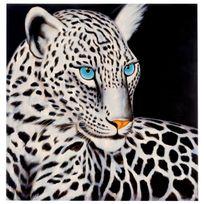 Mendler - Tableau à l'huile, léopard blanc, peint à la main à 100%, toile de décoration murale Xl ~ 100x100cm