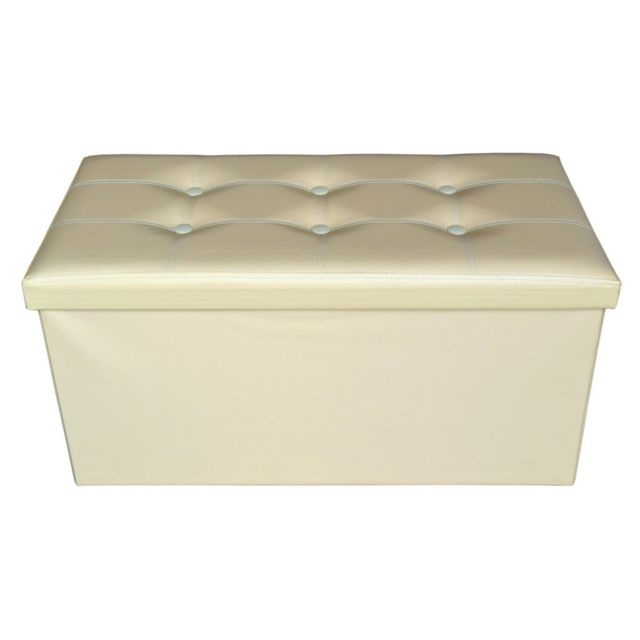 Mobili Rebecca Pouf Coffre de rangement Rectangle Beige Blanc Stokage 38x76x38