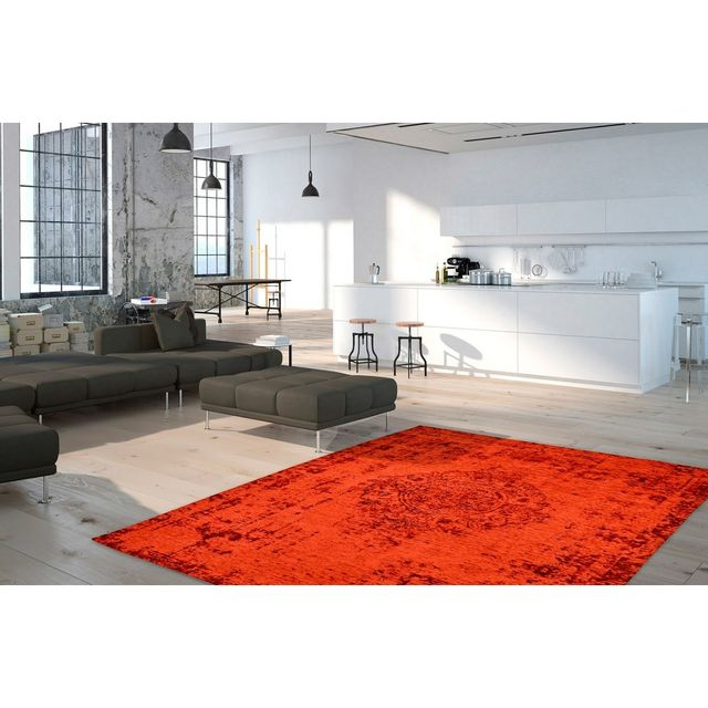 Deladeco Tapis plat effet vintage rectangle rouge Shipa