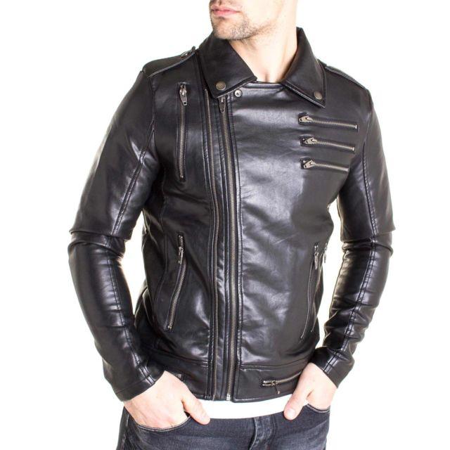 Uniplay Veste biker Sk5 aspect cuir noir et zip tendance pour homme
