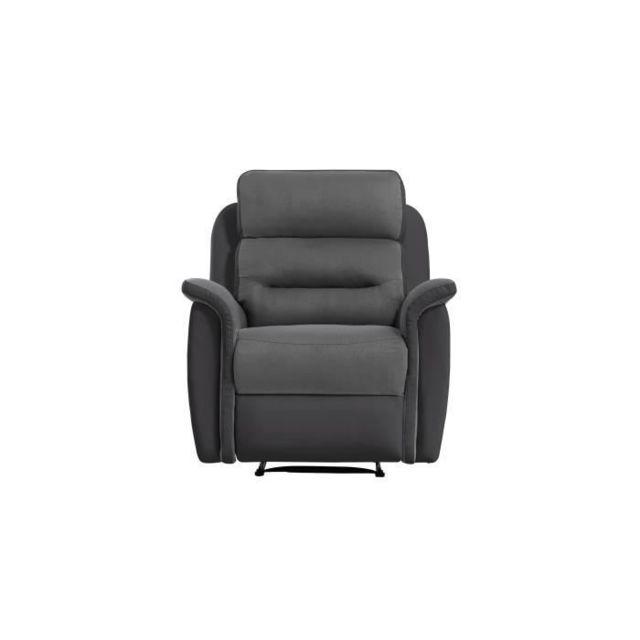 FAUTEUIL NAPA Fauteuil Relaxation 1 place Manuel - Simili noir et Microfibre grise - L 88 x P 93 x H 96cm