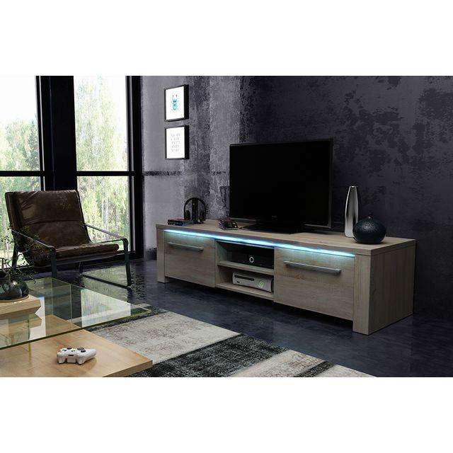Vivaldi Manhattan 160! Meuble Tv Design coloris chêne sonoma. Eclairage à la Led bleue