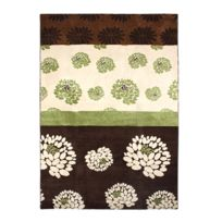 Mon Beau Tapis - Nature Fleurs Tapis 160x230 chocolat vert - 44002240