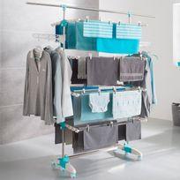 IDMARKET - Séchoir à linge 4 niveaux réglables + barre télescopique pour draps
