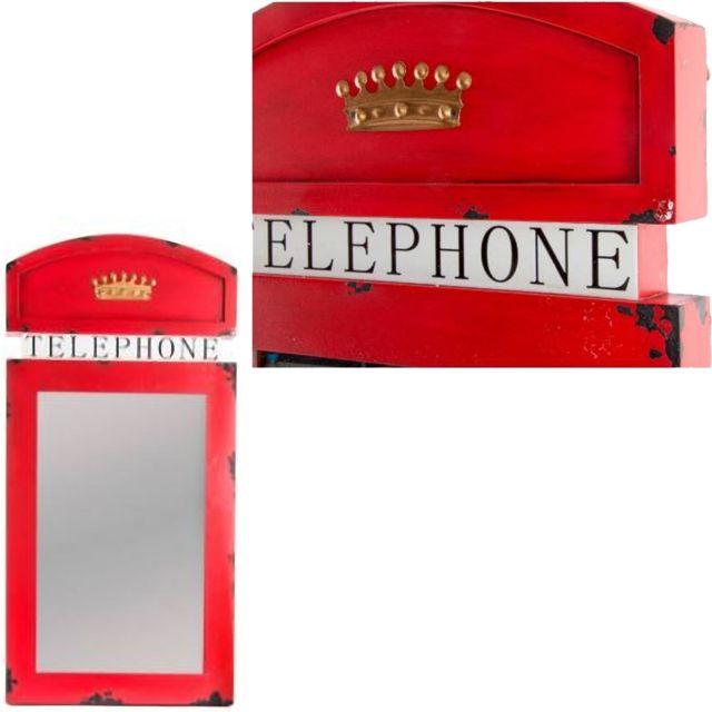 Sudtrading Miroir à suspendre Cabine téléphonique rétro