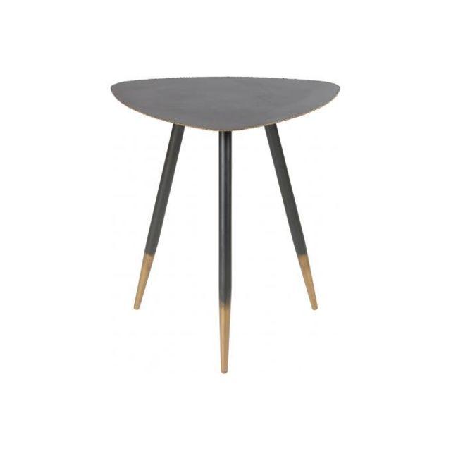 Declikdeco Table Basse 50cm en Métal Noir et Doré Edna