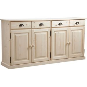 aubry gaspard buffet 4 portes 4 tiroirs en bois brut. Black Bedroom Furniture Sets. Home Design Ideas