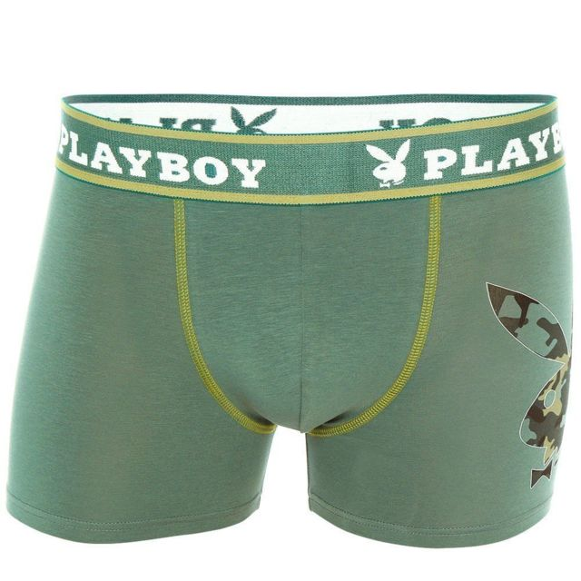Playboy - Boxer Homme Coton Rabbit Addict Vert atlantique