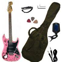 "Keytone - Pack Guitare Electrique Rose ""Bad Girl"" et 5 Accessoires"