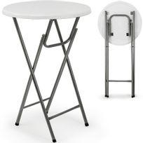 Rocambolesk - Superbe Table haute pliable - Table de bar bistrot pliante en Mdf blanc avec décor bois neuf