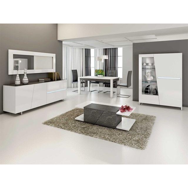 Nouvomeuble Salle à manger complète gris béton et blanc Laurea