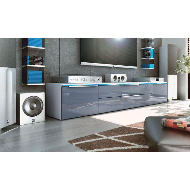Mpc Meubles tv bas blanc / gris 200 cm