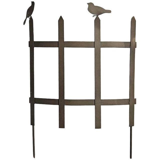 LA GRANDE PRAIRIE Barrière déco de jardin courbée oiseaux
