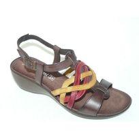 Jean De Cabani - Sandales femme chaussures été Cuir marron talon 5cm pointure 41