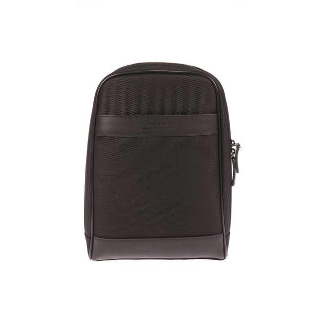 a3372daab81c Chabrand - Sacoche mono bretelle Chabrand Rome en toile noire garnie de  cuir noir