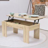 Table Basse Qui Se Leve.Table Basse Avec Plateau Relevable Bois Imitation Hetre