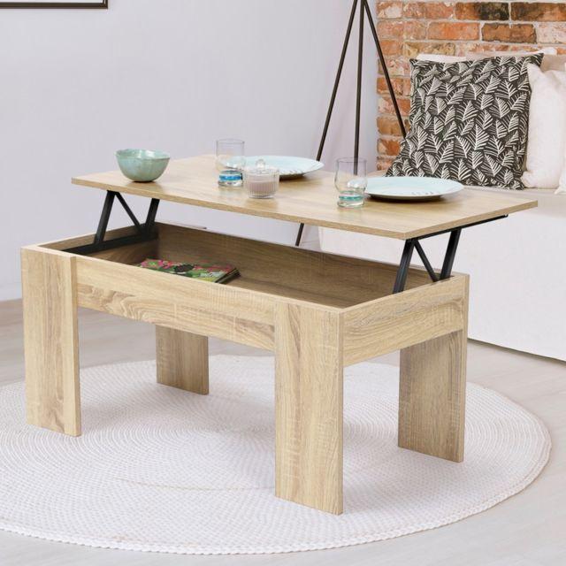 la meilleure attitude c43b9 f413b Table basse avec plateau relevable bois imitation hêtre