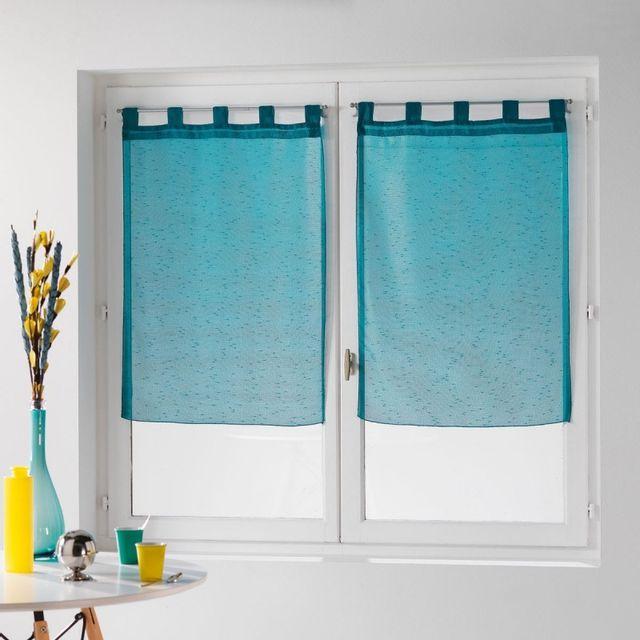 paris prix paire de voilages dandy 60x90cm turquoise pas cher achat vente rideaux. Black Bedroom Furniture Sets. Home Design Ideas