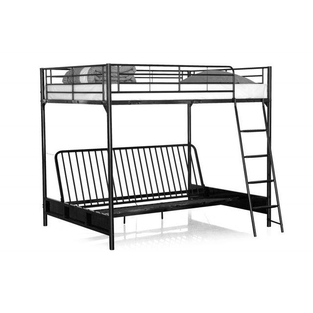 33 sur paris prix lit mezzanine banquette zayne 140x190cm noir vendu par rueducommerce. Black Bedroom Furniture Sets. Home Design Ideas