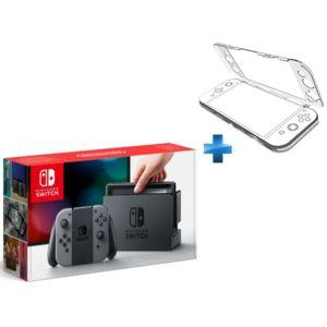 NINTENDO - Console Switch avec une paire de Joy-Con Gris + Coque de protection transparente Nindento Switch